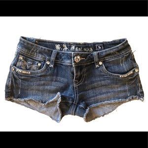 Small TWO pair LA IDOL blue denim cut off shorts